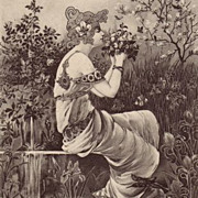 Art Nouveau 'Maiden in a Garden' French Postcard 1904