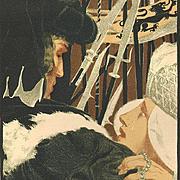 Antique English Original Signed 'Studio' Lithograph 1896.