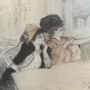 SALE Antique Original Rare Signed Engraving and Aquatint 'Parisian Ladies' c1892
