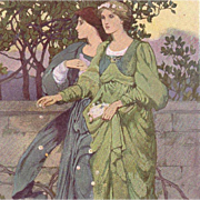 Antique Color Plate 'A Procession of the Seasons' from The Studio Magazine 1901.