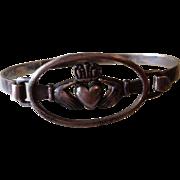 Victorian Irish Gaelic Silver Claddagh Bangle Bracelet.