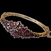 SALE Bohemian Garnet and 14 Karat Gold Bangle Bracelet.