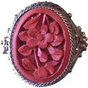 SALE Antique Chinese Filigree Silver and Cinnabar Adjustable Ring.