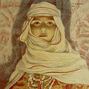 Original Art Nouveau Orientalist French Signed Stone Lithograph 'Femme du Riff' 1897. L'Estamp