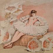SALE Antique Signed Rare French Magazine Ballet Engraving 'Le Reve d'une Danseuse' c1885