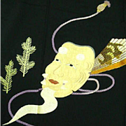Stunning Vintage Japanese Black Silk Embroidered Noh Theatre Mask Tomesode Kimono c1940