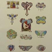 Antique Full Color Engraving 'Art Nouveau Brooch Designs' 1901.
