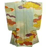 Superb Meiji Era Aqua Silk Furisode Kimono with Painted Clouds and Gold Embroidery c1910.
