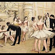 SALE PENDING Antique Signed French Magazine Ballet Engraving 'Le Foyer de la Danse' 1885 Rare.