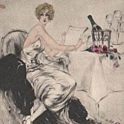 Rare French Etching with Aquatint Private Menu with a Cover by Louis Icart 1946