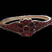 SALE Antique Bohemian Garnet Bangle Bracelet with Floral Setting c1900.