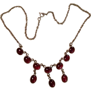 SALE Cabochon Garnet and Silver Lavalier Necklace.