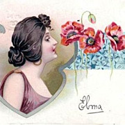 English Art Nouveau 'Poppy' Postcard 1902