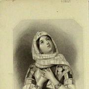 SALE Original Orientalist Signed Book Engraving 'Jephtha's Daughter' c1845