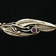SALE Art Nouveau Silver Organic Leaf Amethyst Brooch Pin c1905.