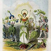 SALE Grandville Victorian Engraving 'Erratum' 1847 from Les Fleurs Animees.