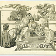 Art Nouveau Greek 'Ladies with Harp' Signed Artist Postcard 1903
