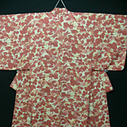 Pure Silk Crepe rust and cream Autumn Leaves Kimono c 1930