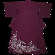 SALE Beautiful Antique Purple Silk Tomesode Kimono with Blossoms, Birds and Wisteria Family Cr