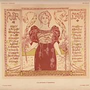 Antique French Art Nouveau Affiches Etrangeres Illustrees Lithograph 1896