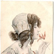 Antique Vienne UB  Art Nouveau Maiden Italian Postcard