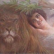 Fabulous Art Deco  Italian Corbella 'Girl with Lion' Postcard.