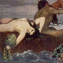 German Artist Signed 'Merman and Sea Monster' Postcard.