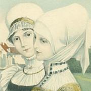 SALE Pair of Antique Art Nouveau Vienne 'Medieval Maidens' Postcards.
