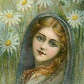 Art Nouveau Language of Flowers 'Marguerite' Postcard
