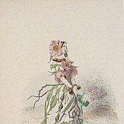 Grandville Victorian Engraving 'Eglantine' 1867 from Les Fleurs Animees.