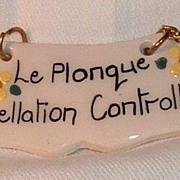 Fun Ceramic Wine Label: Le Plonque