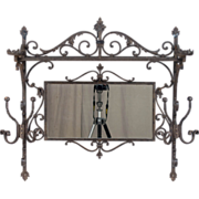19th c. French Wrought Iron Coat Hanger with Mirror