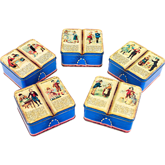 Set of 5 French Vintage Tin Biscuit Boxes