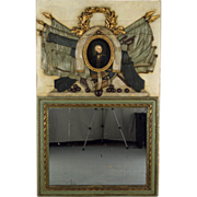 19th Century French Painted Trumeau or Mirror, with portrait of General La Fayette