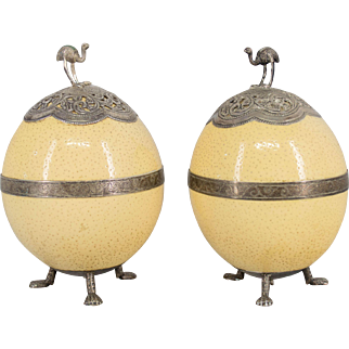 Pair 19th c. French Silver Mounted Ostrich Eggs