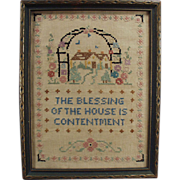 Old, House Blessing in Cross Stitch - Quaint Accent Piece