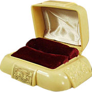 Old Ring Box - Dark Cream Bakelite with Maroon Inside