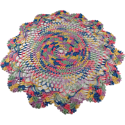 Old, Crocheted, Doily in Multicolored Thread