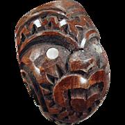 Old, Carved Wood, Smoking Pipe - Tiki Face Design