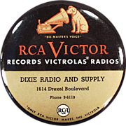 Old, Celluloid, RCA Victor Record Duster with Nipper Logo