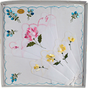 Old Hankie Set with Colorful Flowers - 3 in Original Packaging