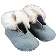 Old, Blue Felt Baby Booties with Fur Trim