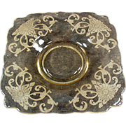 Six, Heisey Empress Saucers in Sahara with Floral Design