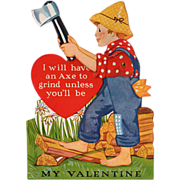 SALE PENDING Old, Mechanical Valentine - Boy Chopping Wood