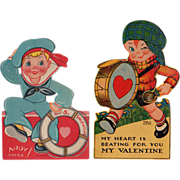 SALE Vintage, Mechanical Valentines - 2 with Cute Boys