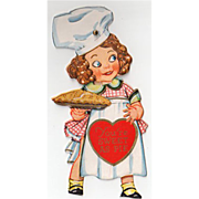 SALE PENDING Old, Mechanical Valentine with Little Girl Baker