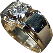 SALE 14k Gold & Palladium, Man's Diamond Ring - 1.85 Carat