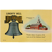 Old, Patriotic Postcard - The Liberty Bell & Independence Hall