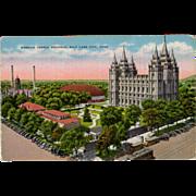 Old Postcard - Mormon Temple in Salt Lake City