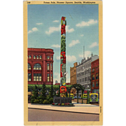Old Postcard - Seattle's Totem Pole in Pioneer Square